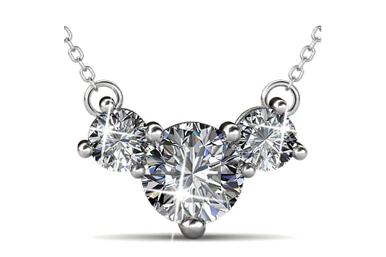 Tri Pendant Necklace Embellished with Crystals from Swarovski