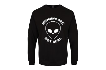 Grindstore Mens Humans Are Not Real Sweater (Black) (XS)