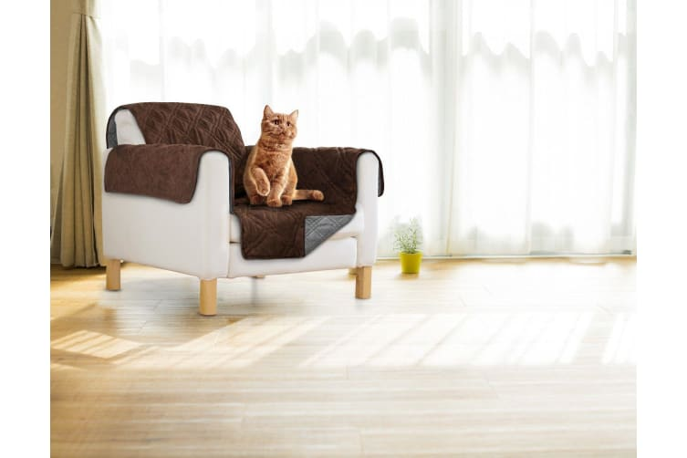 Sprint Industries Reversible Slipover Pet Couch Sofa Cover Protector Armchair - Single Chair - 1 side in Chocolate, 1 side in  charcoal grey