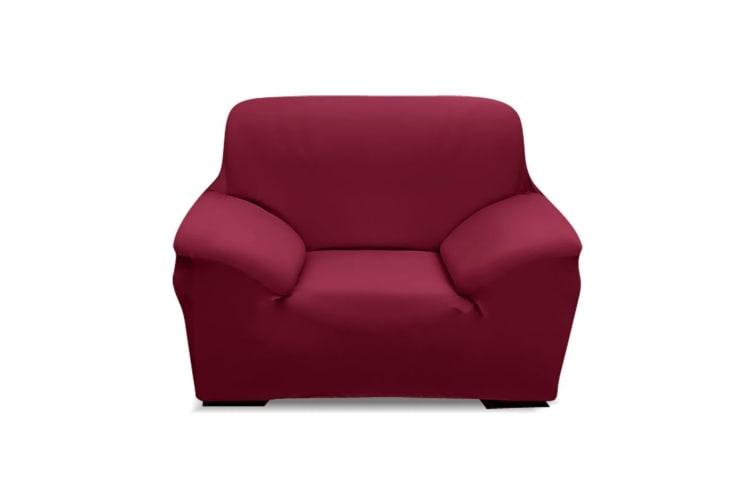 Easy Fit Stretch 1/2/3/4 Seater Couch Sofa Slipcovers Protectors Covers Washable  -  1-Seater in Burgundy