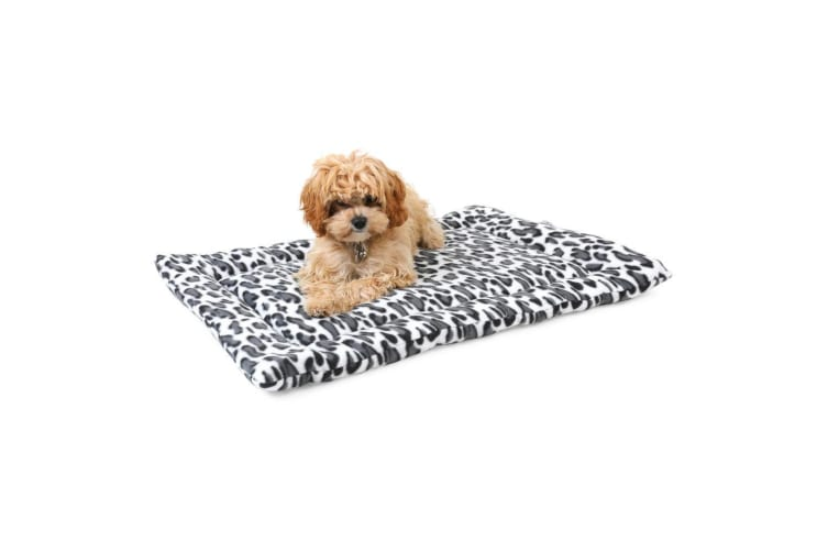 4 Paws Velveteen Plush Pet Mat Dogs Mattress Cushion 73x50x2 cm - Black Leopard