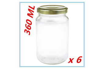 6 x Screw Top Round Favours Lolly Candy Conserve Jam Preserving Jar 360ml Glass Jars
