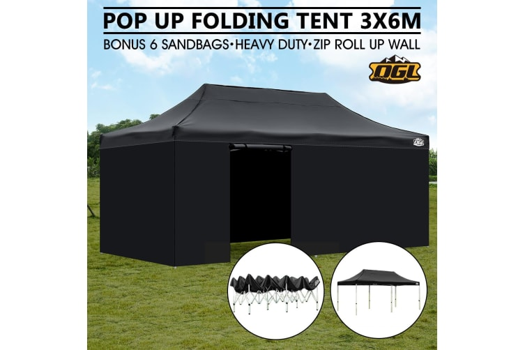 Outdoor Gazebo 3x6m Pop Up Canopy Tent Party Wedding Marquee - Black