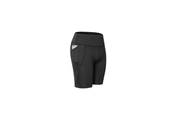 Women Performance Athletic Compression Shorts With Side Pocket - Black Black XL