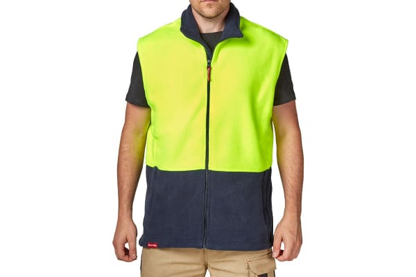 Hard Yakka Men's Hi-Vis Two Tone Polar Fleece Vest (Yellow/Navy, Size XS)