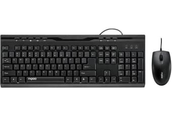 RAPOO NX1710 Wired Keyboard Mouse Optical Combo Black - 1000dpi Spill-Resistant Design