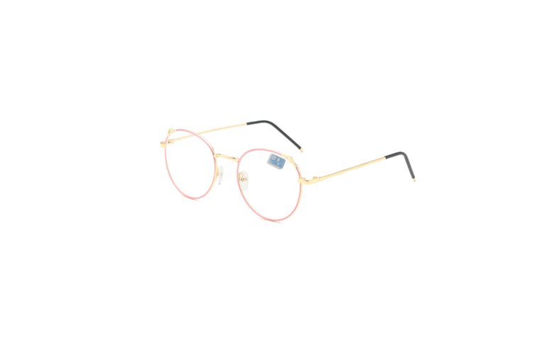 Blue Light Blocking Myopia Glasses Metal Lens Frame - 2 Pink 200 Degrees Myopia