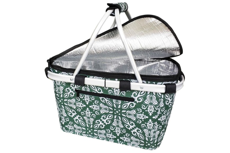 Sachi Collapsible Foldable Insulated Picnic Shopping Basket w Lid Bohemian Green