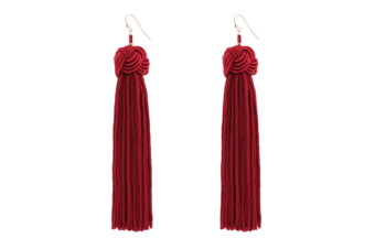 Unique Elegant Style Knotted Ball Tassel Long Earrings Red