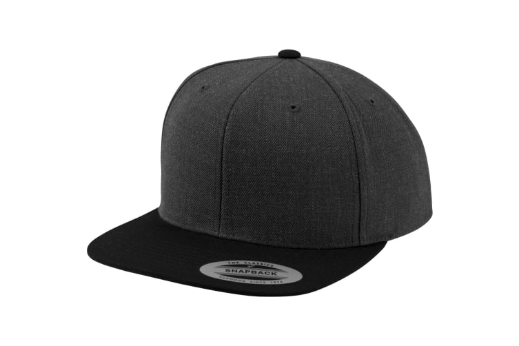 Yupoong Mens The Classic Premium Snapback 2-Tone Cap (Pack of 2) (Charcoal/Black) (One Size)