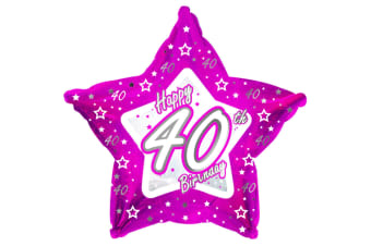 Creative Party Happy 40th Birthday Pink Star Balloon (Pink)
