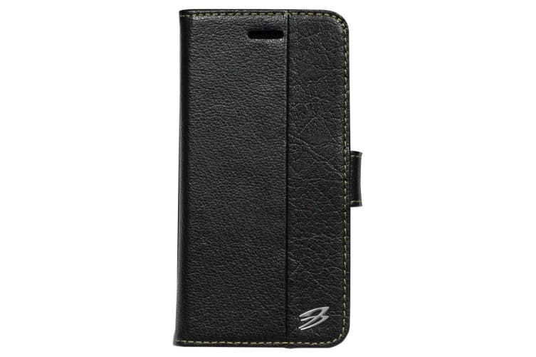 For iPhone 8 7 Wallet Case Fierre Shann Genuine Cowhide Leather Cover Black