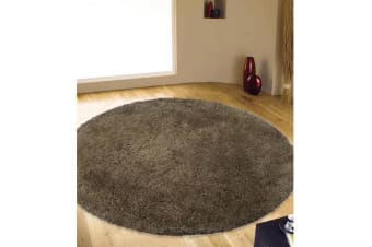 Texture Round Shag Rug Dark Brown