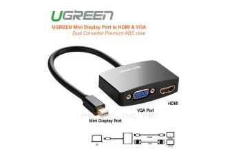 UGreen Mini Display Port to HDMI & VGA Dual Converter Premium ABS case (Black) (10439)