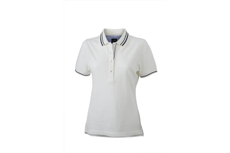 James and Nicholson Womens/Ladies Lifestyle Polo (Off White/Navy) (L)