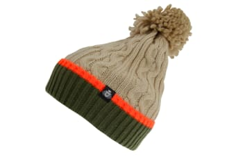 Skats Mens Knitted Bobble Winter Hat (Cream/Olive Green) (One Size)