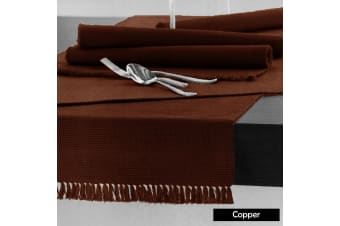 Cotton Ribbed Table Runner 45cm x 150cm - COPPER