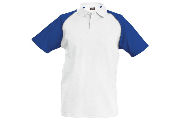 Kariban Mens Contrast Baseball Polo Shirt (White/Light Grey/Royal) (2XL)