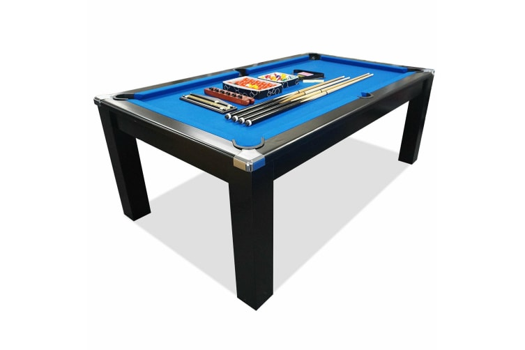 Mace 7FT Black Frame Slate Pool Dining Billiard Table with Top Free Billiard Accessories Pack, Blue Felt