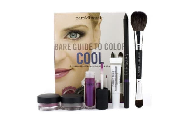 Bare Escentuals Bare Guide To Color - # Cool (Primer Shadow + Eyecolor + Eyeliner + Blush + Lip Gloss + Brush) (6pcs)