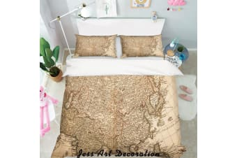 3D Old World Map Quilt Cover Set Bedding Set Pillowcases  135-King