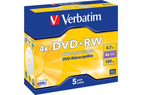 Verbatim 5Pk Dvd+Rw In Jewel Case
