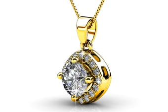 Lux Pendant Necklace w/Swarovski Crystals-Gold/Clear