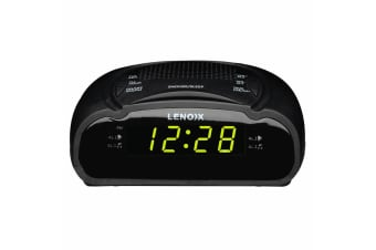 Lenoxx AM/FM Station Radio Digital LED Dual Alarm Clock Sounds Snooze/Sleep BLK