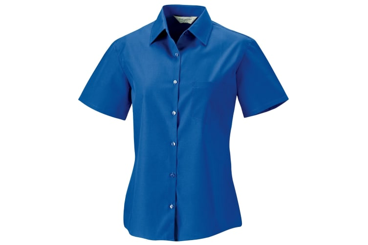 Russell Collection Womens/Ladies Short Sleeve Pure Cotton Easy Care Poplin Shirt (Aztec Blue) (M)