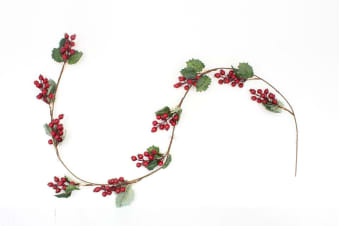 Christmas Red Holly Berry Garland Home Table Centrepiece Mantle Decoration 160cm