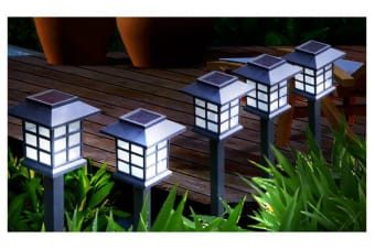 Set of 6 White LED Outdoor Solar Powered Garden Lights
