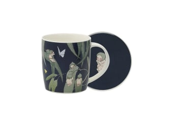 Ecology May Gibbs Mug & Coaster 320ml Gumnut Babies - Ink