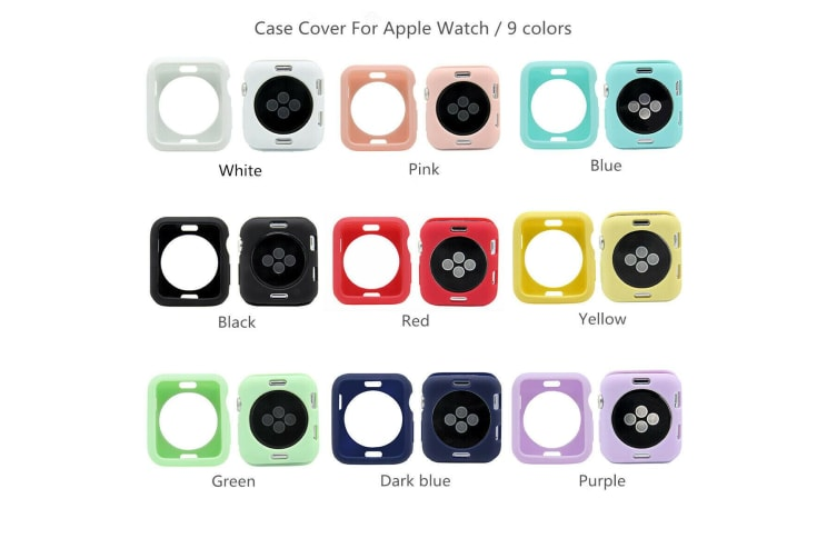 For Apple Watch Series 5 4 3 2 1 38/42/40/44mm TPU Bumper Protective Cover Case-LightBlue