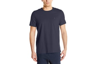 Tommy Hilfiger Men's Crew Neck Flag Tee (Dark Navy, Size S)
