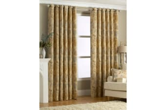 Riva Home Berkshire Ringtop Curtains (Gold) (66x72 (168x183cm))