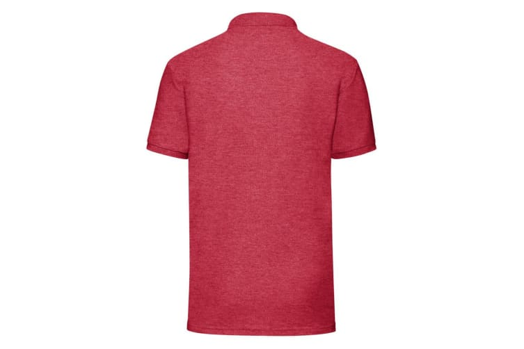 Fruit Of The Loom Mens 65/35 Pique Short Sleeve Polo Shirt (Heather Red) (XL)