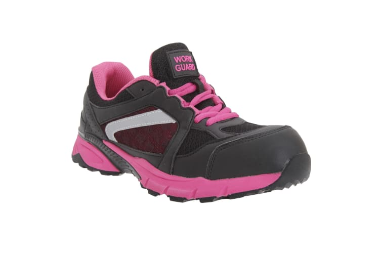 Result Womens/Ladies Work-Guard Lightweight Lace Up S1P Safety Trainer (Black/Pink) (3 UK)