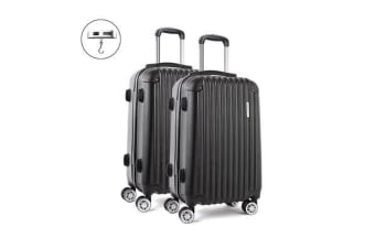 2 Piece Lightweight Hard Suit Case (Black/Striped)