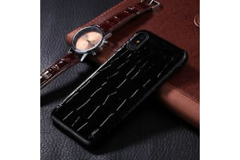 For iPhone XS X Case Modern Crocodile Texture High-Quality Shielding Cover Black