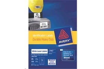 AVERY HD VINYL 99.1X38.1MM 25 SHEETS