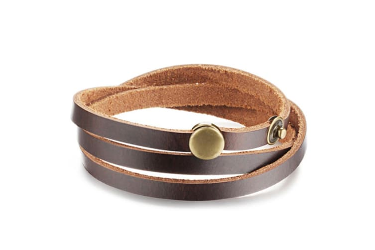 Genuine Cow Leather Wrap Bracelet With Bronzealloy Buckle-Leather/Brown