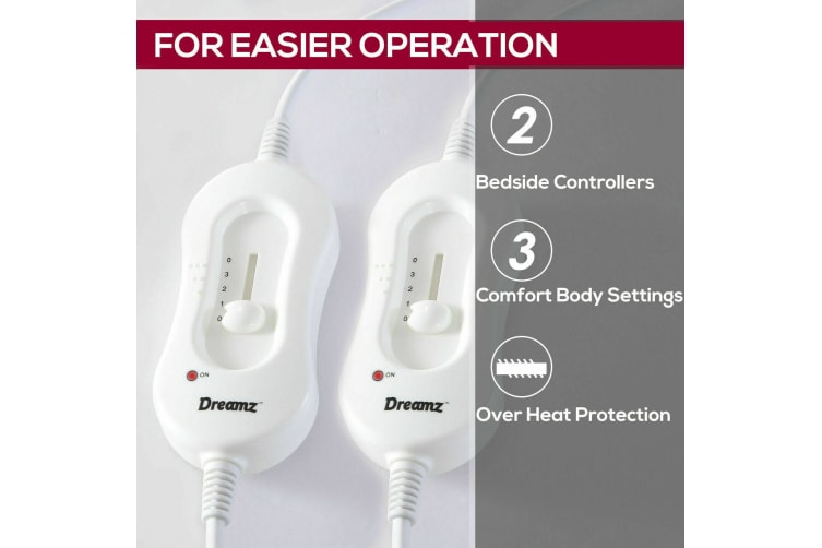 2x DreamZ 450 GSM Polyster Electric Blanket Heat Warm Winter Fitted Double Size  -  Double in Type A - 2pcs