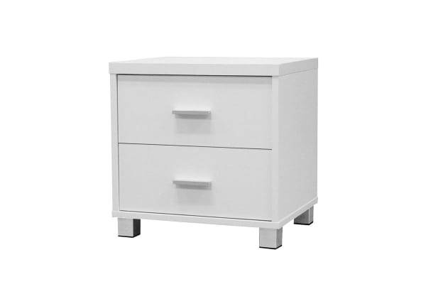 Ovela 2 Drawer Bedside Table with Aluminium Handles (White)