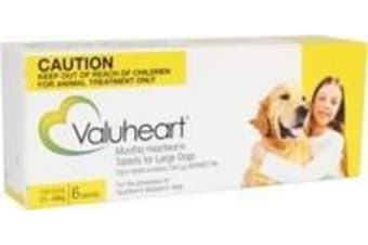 Valuheart Heartworm Tablets for Large Dogs 21-40 kg - 6 Pack - Yellow