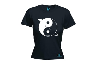 Open Water Scuba Diving Tee - Dolphin Yin Yang - (X-Large Black Womens T Shirt)