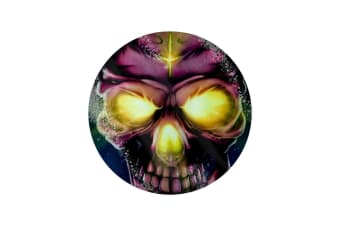 Grindstore Neon Skull Circular Glass Chopping Board (Multicoloured) (One Size)