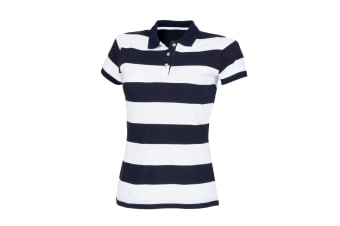 Front Row Womens/Ladies Striped Pique Slim Fit Polo Shirt (Navy/ White)