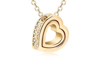 Double Heart Pendant Necklace With Austrian crystal Gold
