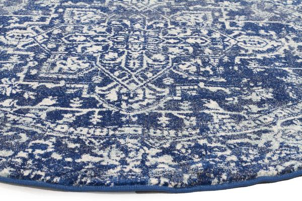 Contrast Navy Transitional Rug 150x150cm