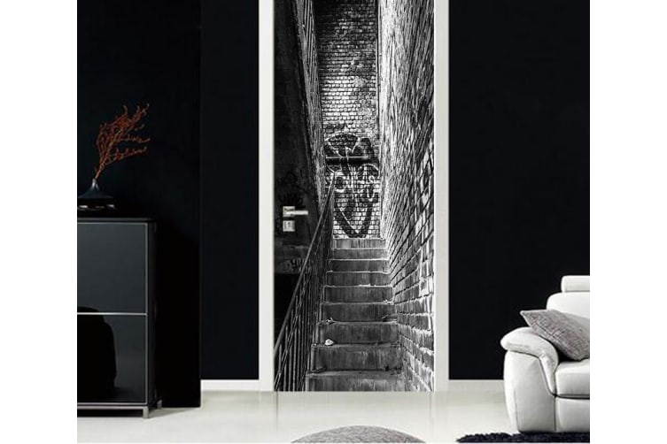 3D Handrail Stairs Stone Brick Door Mural Woven paper (need glue), L 205cm x 77cm (HxW)(81''x30'')